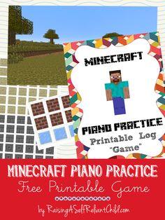 Piano Practice Log Minecraft Game Free Printable