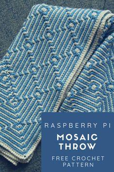 Crochet Afghans Raspberry Pi Mosaic Throw - Free Crochet Pattern - New Craft Works Crochet Afghans, Afghan Crochet Patterns, Knitting Patterns, Crochet Blankets, Free Knitting, Throw Blankets, Crochet Home, Crochet Crafts, Crochet Projects