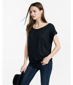 Express One Eleven Off-The-Shoulder Tee Black Women's X Small