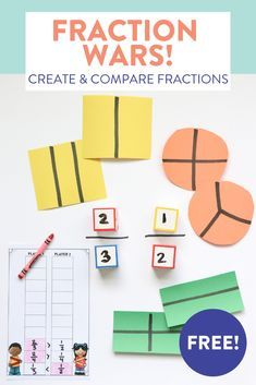 Need some new activities to help first grade students create and compare fractions? Fraction Games, Fraction Activities, First Grade Activities, Teaching First Grade, Math Resources, Math Activities, Educational Math Games, Addition Activities, 3rd Grade Fractions