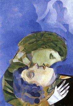 Marc Chagall - Les Amoureux huile sur toile (1916)