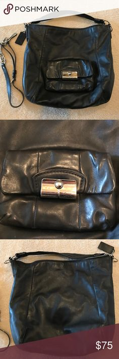 Cute Black Authentic Coach Bag Really cute Coach Bag with removable longer strap. See pics for wear. I have not tried to remove stains on the inside. Coach Bags Hobos