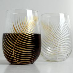 Gold and White Ferns--Set of 2 Stemless Wine Glasses