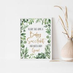 Baby Shower Succulent Favor Sign Succulent Baby Shower Sign | Etsy Baby Shower Party Favors, Baby Shower Signs, Baby Shower Fun, Blush Centerpiece, Centerpieces, Baby Succulents, Succulent Favors, Different Signs, Second Baby