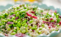 Nadiya Hussain edamame wild rice salad recipe on on Nadiya s Summer Feasts The Talent Zone Wild Rice Recipes, Rice Salad Recipes, Edamame Salad, Cobb Salad, Edamame Beans, Vegetarian Recipes, Cooking Recipes, Healthy Recipes, Nadiya Hussain Recipes