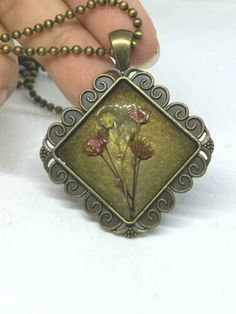 Pendant Necklace Fashion bronze Charm Hand made Dried Natural Rose Jewelry 17"