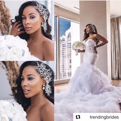 Natural Hair Bride-To-Be? Check out Hair Inspiration For The Natural Hair Bride - Wedding Digest Naija Wedding Beauty, Wedding Bride, 2017 Wedding, Hair Wedding, Gown Wedding, Black Brides Hairstyles, African American Weddings, African American Bride Hairstyles, Bridal Hair And Makeup