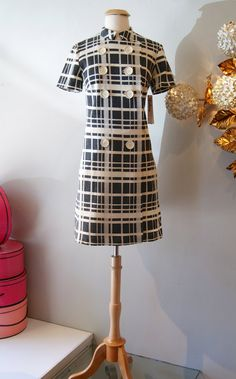 60s Dress // Vintage 1960s Plaid Wool