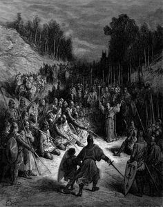 Peter the Hermit Preaching the Crusade. llustration to The Crusades.