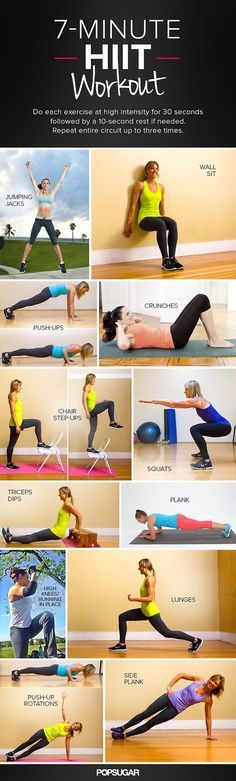 HIIT 7 Minute #Workout. High Intensity Interval Training. This style of training is similar to 30 seconds of high energy sprints followed by 10 seconds of rest, then repeat. This keeps your heart rate pumping and is the best way to burn fat. #Weightloss