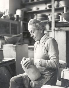 the maker herself, Lucie Rie in her studio