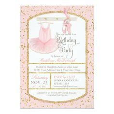 Sweet Little Girl Ballerina Ballet Birthday Party Card