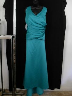 Alfred Angelo Teal 2 Piece Wrap Halter Skirt Suit Mother of Bride Size 22W