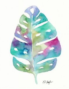 0be2d43038f Colorful Palm Leaf Original Watercolor by GrowCreativeShop on Etsy Arte  Casa