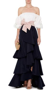 Johanna Ortiz White Cotton Poplin Off The Shoulder Tulum Top Couture Dresses, Fashion Dresses, Elegant Dresses, Formal Dresses, Skirt Mini, Look Fashion, Fashion Design, Looks Style, Tulum