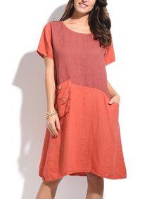 Look at this #zulilyfind! Brick Red Linen Shift Dress #zulilyfinds