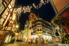 Maison Pfister ( German Reinaissance) with christmas lights at night. Colmar. Alsace Wine route. Haut-Rhin. Alsace. France