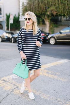 Outfit // BB Dakota Navy Striped Dress with Ray-Ban Sunglasses and Converse Sneakers.