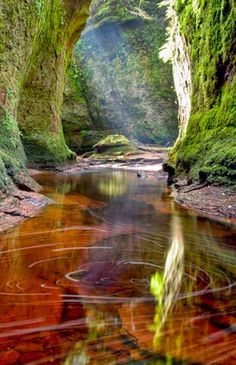 Finnich Glen, Loch Lomond, Scotland Loch Lomond is a freshwater Scottish loch which crosses the Highland Boundary Fault. Places Around The World, Oh The Places You'll Go, Places To Travel, Places To Visit, Around The Worlds, Loch Lomond Scotland, Amazing Nature, Belle Photo, Beautiful Landscapes