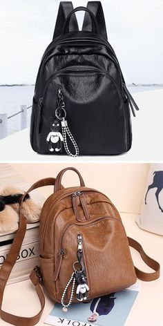 5ab8365d1 Retro Soft PU Multi Zippers School Leisure College Lady Waterproof  Lightweight Backpack #backpack #Bag