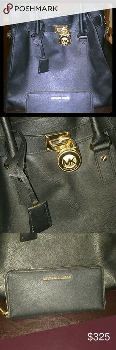 MK Lg. Hamilton & Wallet Set Gorgeous hard to find bag as it is now Discontinued! Purse and wallet both black saffiano leather with gold hardware and no flaws. Don't miss out! Michael Kors Bags Shoulder Bags