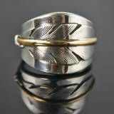 Gold & Silver Feather Wedding Band, Native American Made