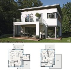 One Family House with Flat Roof & Balcony Modern Contemporary European Minimalis. One Family House House Construction Plan, Modern Architecture Design, Flat Roof, Small House Plans, House Goals, Patio, New Homes, Floor Plans, House Design