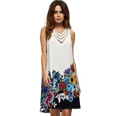 Young17 Floral Printed Hollow out V Neck Sleeveless Summer Mini Dress Sundress