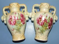 ANTIQUE (2) SMALL URN VASES MARKED AUSTRIA DOUBLE HANDLED, PINK ROSES & GUILDED