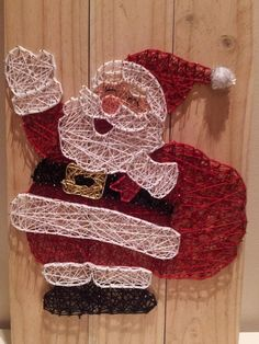 Santa string art with his present sack. All Strung Up. Christmas Art, Christmas Projects, Handmade Christmas, Holiday Crafts, Christmas Holiday, Nail String Art, String Crafts, Cute Crafts, Diy And Crafts