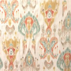 This is a blue, gray, gold and peach floral Ikat cotton drapery fabric by Swavelle Mill Creek Fabrics, suitable for any decor in the home. Perfect for pillows, drapes and bedding.v112EEF