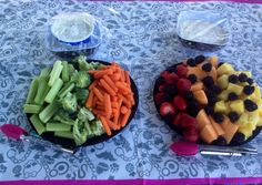 Vegi tray with ranch dip and fruit platter with cream cheese, marshmallow fluff dip.