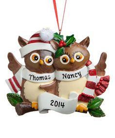 Another great find on #zulily! Owl Family of Two Personalized Ornament #zulilyfinds