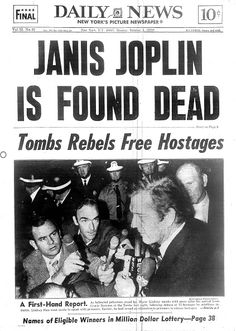 New York Daily News front page Monday October 5 JANIS JOPLIN IS FOUND DEAD