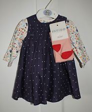 Marks & Spencer purple spotty dress hedgehog & floral baby grow & tights set