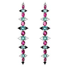 Nikos Koulis Eden collection earrings with-rose-cut diamonds, apatites, rubellites and onyx