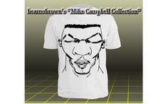 White Tee with black caricature design.