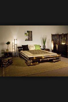 Cama bambu Tropical Furniture, Bamboo Furniture, Furniture Design, Bamboo Architecture, Interior Architecture, Bamboo House Design, Bali House, Bed Frame And Headboard, Bamboo Crafts
