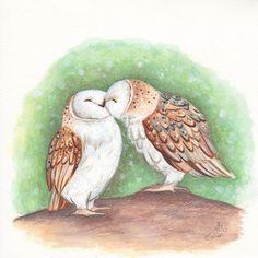 Uil kunst Kissing uilen Art print Decor van de kwekerij door TinyRed