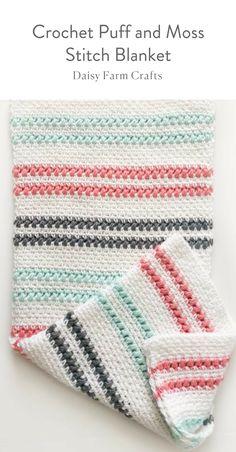Crochet Puff and Moss Stitch Blanket