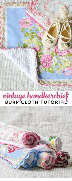 Sewing tutorial showing how to make baby burp cloths from vintage hankies - great gift idea for a baby shower
