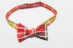 Reversible Freestyle Color Swatch Cotton Bow Tie, Handmade Men's Self-Tie Bow Tie in Reds and Greens $34.00