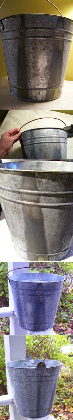 Diy galvanized wreath metals design and spoons for Metal bucket sink