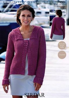 Crochet Jacket in Sirdar Country Style 4 Ply - 9506 - Women - For - Patterns