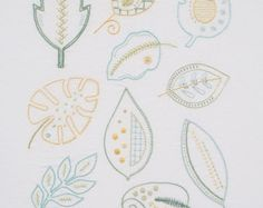Tree Stack modern hand embroidery pattern by KFNeedleworkDesign