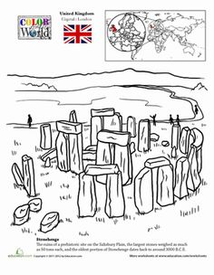 Second Grade Fourth Grade Places Geography Worksheets: Color the World! Stonehenge