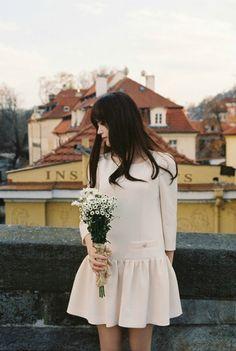 a simple vintage-inspired short wedding dress