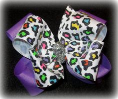 Leopard Glitter Double Layered Hair Bow by MyBellaBellaBowtique, $5.75