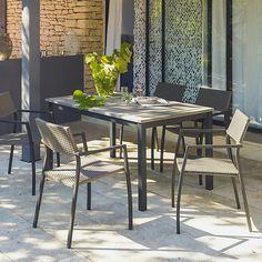 Houston Table de jardin en aluminium 6 couverts