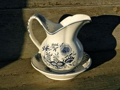 Blue Danube Vintage Pitcher and Bowl Set in Navy by TheSnootyGoose, $7.95